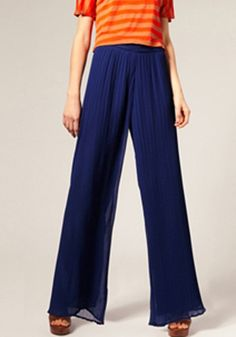 Blue Pleated Elastic Waist Loose Long Chiffon Pants