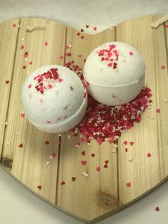 "Handcrafted all natural invigorating bath bombs.....nothing like a nice Hot soak to relax!!! Maybe for ""two"" in honor or Valentine's Day !!"
