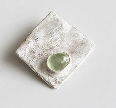 "Square Pendant Green Prehenite on Sterling ""Seaside Series"" by DixSterling"