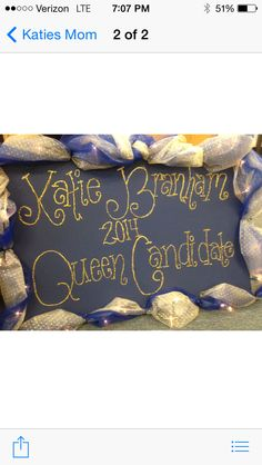 Homecoming Queen sign