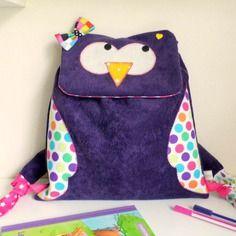 Sac à dos fille pour l'école maternelle - crèche- nounou- chouette hibou violet
