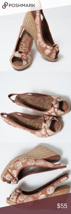 """Sam Edelman Toledo 8.5 Wedge Brown Silk Sandal Printed silk wedge sandal in brown and cream graphic pattern with brown leather trim. Knotted peep toe and stretch slingback strap. 3"""" braided just wedge heel. Worn one time, in excellent condition. Size 8.5 Sam Edelman Shoes Wedges"""