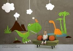 Dino Land Dinosaurs Wall Decal Children Kid Wall Decal by NouWall