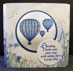 """Created by Rebecca for a Crafty Daze class. Using the following Claritystamps - """"Hot Air Balloon"""" (small, meduim and large), """"Sending a Little note"""", """"Long Grass"""", """"Long Grass Flower Heads"""", """"Birds in flight."""""""