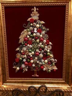 Vintage Jewelry Crafts jewelry tree by Beth Turchi 2016 Costume Jewelry Crafts, Vintage Jewelry Crafts, Vintage Jewellery, Noel Christmas, Christmas Jewelry, Christmas Ornaments, Vintage Christmas Trees, Luxury Christmas Gifts, Christmas Quotes