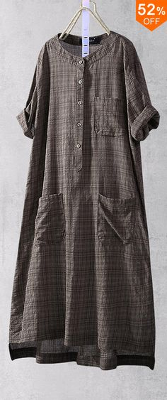 Plus Size Plaid Short Sleeve Button Long Shirts with Pockets Source by banggoodonline Outfits hijab Hijab Fashion, Fashion Outfits, Womens Fashion, Casual Outfits, Hijab Dress, Blouse Online, Golf Outfit, Blouse Styles, Long Shirts