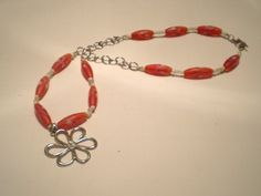 Necklace Orange and White Glass featuring Silver Open Flower Pendant OOAK