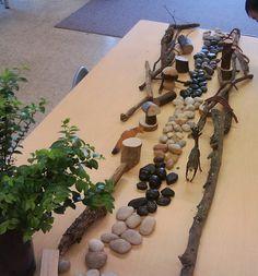 "Sticks, stones, tree blocs & woodland animals. Lovely ("",)"