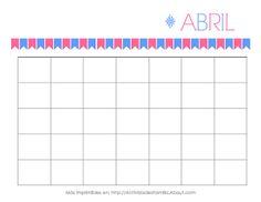 Calendarios gratis para imprimir. Hay un calendario para cada mes y puedes personalizarlos a tu gusto. Sirven para cualquier año!: Calendario de Abril