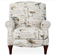 """Not peacock, per se, but this wonderful """"Sunset Trading Bird Script Recliner"""" would certainly complement that kind of decorating. [Screenshot 20160202.]"""