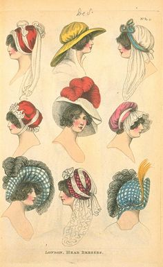London Head Dresses, December 1804, Fashions of London & Paris