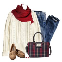 """""""White Sweater"""" by daiscat ❤ liked on Polyvore featuring Victoria's Secret, H&M, Minnetonka and FOSSIL"""