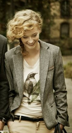 when tweed is mixed with femininity and a tee.