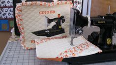 So cute! Singer Featherweight 221/222 Sewing Machine COVER SET with custom embroidery