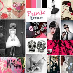 Punk / Goth / Pin-up Wedding Inspiration Board by Pocketful of Dreams event planner. Pink, Black, Silver, Skulls, Retro, Rockabilly