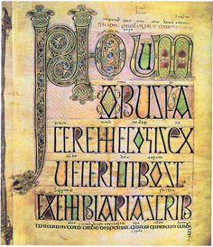 """Incipit page (Novum Opus...) of St Jerome's Letter at the beginning of the Vulgata"", Lindisfarne Gospels, made by Eadfrith (colophon), 715-725, monastery of LIndisfarne."