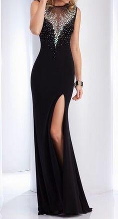 Long black side slit prom dress, homecoming dress