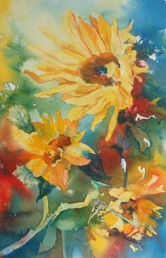Sunflowers by Nancy Melton -- I painted these in watercolor as I watched the wind catch them.