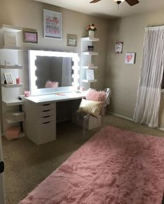 Makeup vanity setup. White and pink