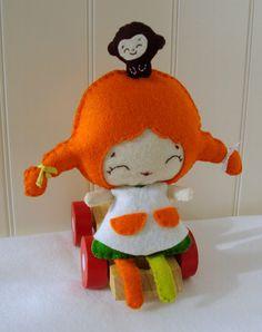 Pippi longstocking, felt doll  by MoliArtes on Etsy
