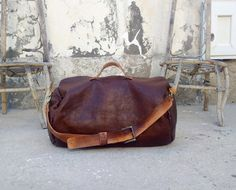 Große Vintage Reisetasche aus Leder, Koffer, Reiseutensilien / travel bag made of leather for vacation made by The Westlands via DaWanda.com