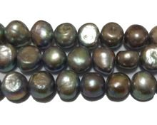 16 inches 12-13mm Dark Gray Nugget Baroque Pearl Loose Strand,Sell by String(China (Mainland))