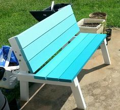 "DIY Plans -- ""beginner level"" Could be painted in OMBRE -- Convertible picnic table"