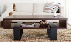 A smooth coffee table that stores stuff inside *and* out.