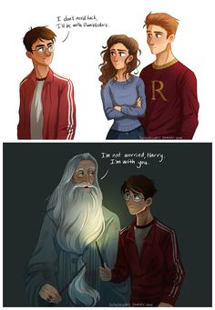 "Harry said to Ron & Hermione, ""I don't need luck, I'll be with Dumbledore. Dumbledore later said, ""I'm not worry Harry, I'm with you. Fanart Harry Potter, Harry Potter World, Mundo Harry Potter, Harry Potter Drawings, Harry Potter Jokes, Harry Potter Universal, Harry Potter Fandom, Harry Potter Comics, Albus Severus Potter"