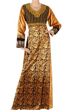aljalabiya.com: 'Gold Rush' Pure velvet kaftan with black print and gold on chest (N-13299-7) $214.00