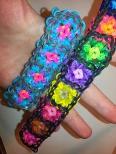 Rainbow Loom Patterns: Granny Square Rainbow Loom Pattern (youtube tutorial)