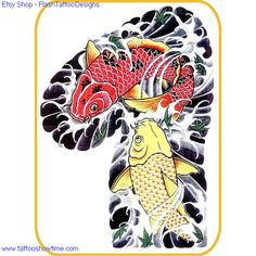 Koi Tattoo Flash Design 4 for you on Etsy. Top quality high resolution color design, with tattoo stencil outline. Instant download only $1.95. Get the body art you deserve. Many other designs.