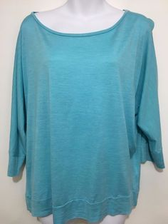 Eileen Fisher Womens L Aqua Blue Silk Cotton 3/4-Sleeve Pullover Tunic Top Shirt #EileenFisher #Tunic #Casual