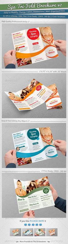 Spa TriFold Brochure | Volume 7 — Vector EPS #towel #relaxation • Available here → https://graphicriver.net/item/spa-trifold-brochure-volume-7/6049912?ref=pxcr
