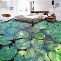 Universal Modern Design Lotus Leaves in the Lake Pattern Waterproof 3D Floor Murals
