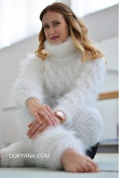a5a2099692 Hand knitted soft and silky cropped mohair Tneck and leggings Knit  Leggings