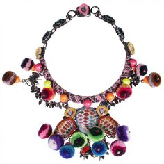 MARIO TESTINO for MATE by VICKISARGE Necklace with Swarovski Crystals and Pompoms