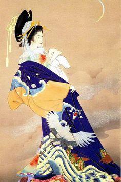 art asiatique serie 2 - Page 44 Art Geisha, Geisha Kunst, Japanese Drawing, Japanese Painting, Asian Artwork, Art Chinois, Art Deco, Art Asiatique, Art Japonais