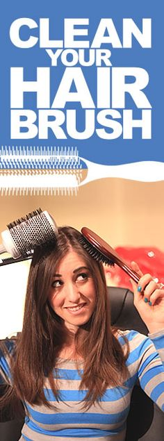 The proper way to clean your hair brushes!  First, remove the hair, then wash with a solution of shampoo, water and baking soda (or tea tree oil and water if it is a wooden brush), rinse and lay flat to dry.  Amazing and brushes won't be gross anymore!