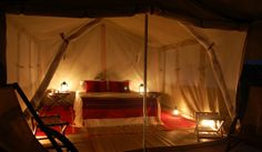 Tents are also outfitted with cotton bedding, Arabian rugs and throws, and other elegant f. Outdoor Life, Outdoor Decor, Luxury Camping, Cotton Bedding, Stargazing, Glamping, Rum, Design Inspiration, Travel