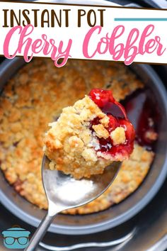 The Best Instant Pot Cherry Cobbler is made with a yellow cake mix, cherry pie filling and a dash of amaretto liqueur to really bring out the cherry flavors. Simply delicious! Canning Cherry Pie Filling, Peach Pie Filling, Cherry Crumble, Cherry Cobbler, Butter Pecan Cake, Canned Cherries, Dump Cake Recipes, Sweets Recipes, Pressure Cooker Recipes