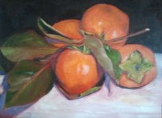 Persimmons are ripe on the tree - so many all at once I can't keep up! But they are beautiful, like ornaments on a Christmas tree. (9x12 oil on Belgian linen)