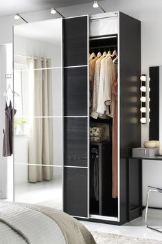 "Small living space, but lots of clothing? IKEA PAX fitted wardrobes are a ""you-choose-everything"" kind of wardrobe. Pick the size, color and style to match your bedroom and to organize all your clothing and accessories!"
