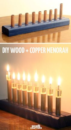 Magnificent DIY wood and copper menorah - cool craft for Hanukkah or Chanukah. Or just use it as any special event centerpiece! #Ad