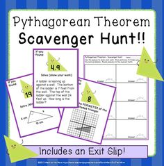 In this engaging activity, students move around the room, solving problems using the Pythagorean Theorem. Each answer leads them to the next problem.  Great partner activity!  Get your students moving and collaborating!