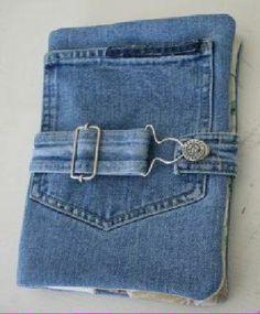Kindle Case from Recycled Denim Jeans purse Jean Crafts, Denim Crafts, Fabric Crafts, Sewing Crafts, Sewing Projects, Craft Projects, Artisanats Denim, Denim Purse, Blue Denim