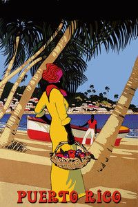 Island style. Vintage travel poster from Puerto Rico.
