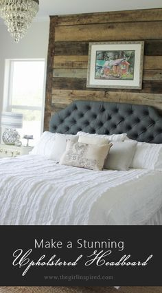 Stunning Upholstered Headboard - step by step tutorial from @girlinspired | DIY Headboard | Gray linen fabric from @joannstores | Tufted Headboard