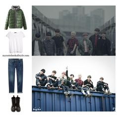 BTS I need u MV inspired by Suga outfit by mynotebookofstyle on Polyvore featuring MANGO, rag & bone/JEAN, Dr. Martens, bts, BangtanBoys, Suga, kpopoutfit and inspiredbyoutfit