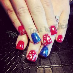 Red white and blue 4th of July patriotic gel nails  Facebook.com/TipsNToesbyErica